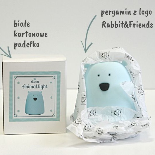 Rabbit&Friends silikonowa lampka led mały niebieski MIŚ