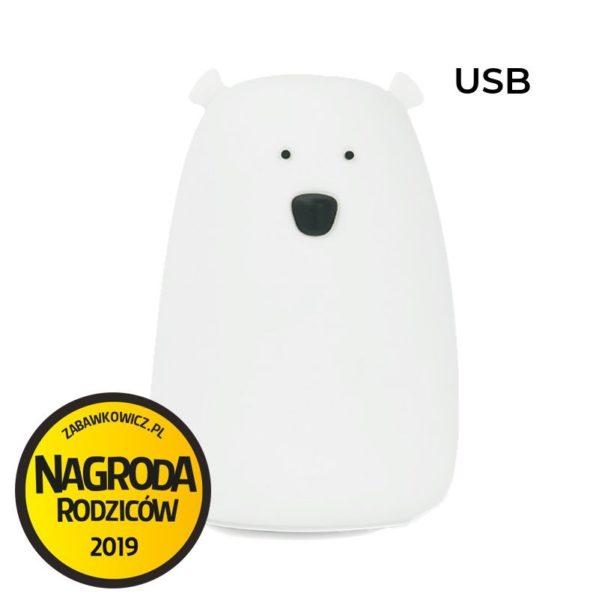 Rabbit&Friends silikonowa lampka led duży biały MIŚ