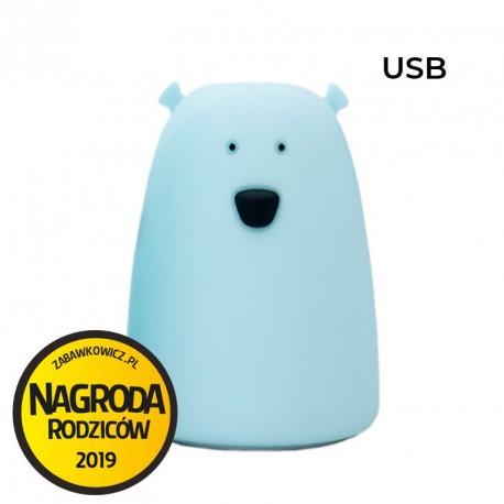 Rabbit&Friends silikonowa lampka led duży niebieski MIŚ