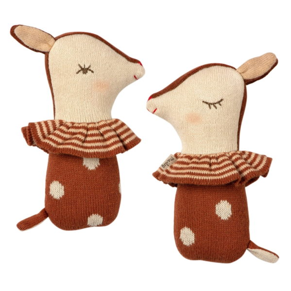 MAILEG grzechotka dziecięca Bambi rattle w kolorze rusty