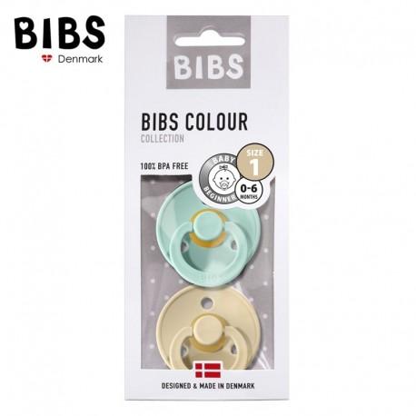 BIBS 2-pack S kolor mint/beige smoczek uspokajający kauczuk Hevea