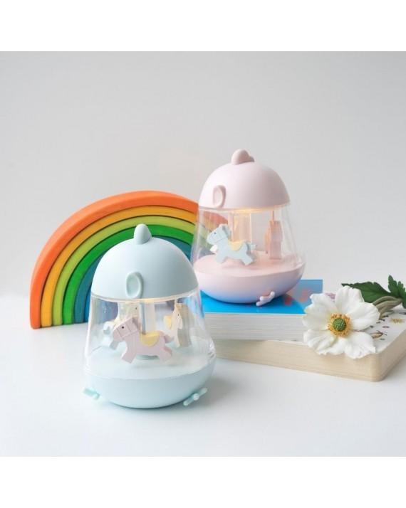 Rabbit&Friends lampka nocna z nakręcaną pozytywką - Kurczaczek różowa