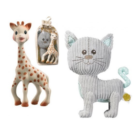 Żyrafa SOPHIE i kot Lazare