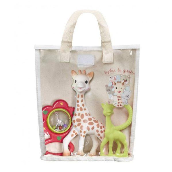 Żyrafa SOPHIE zestaw gryzaki i grzechotka w bawełnianej torbie
