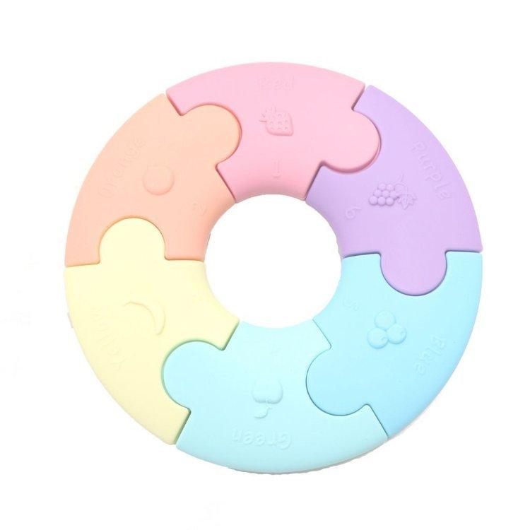 JELLYSTONE Silikonowe puzzle - gryzak, pastelowe kółko