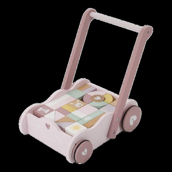 LITTLE DUTCH wózek pchacz z klockami Róż