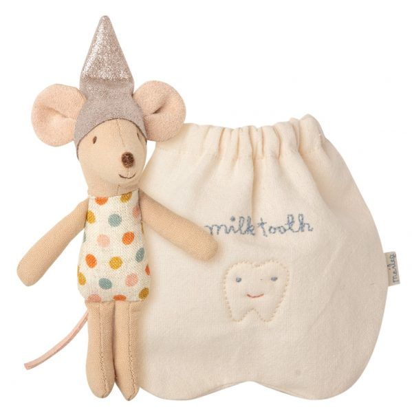 MAILEG myszka wróżka zębuszka - Tooth fairy mouse, Little sister Mysia Wróżka Zębuszka z woreczkiem na ząbki mleczaki.