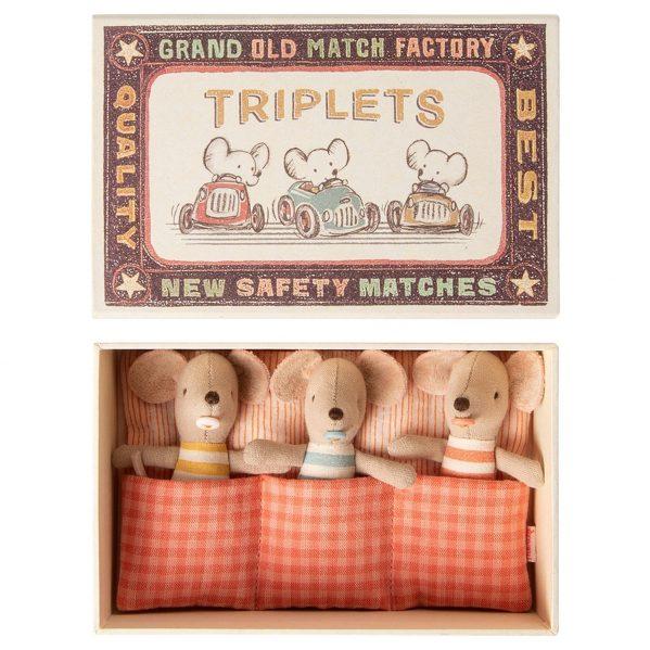 MAILEG myszki trojaczki Baby TRIPLETS in box