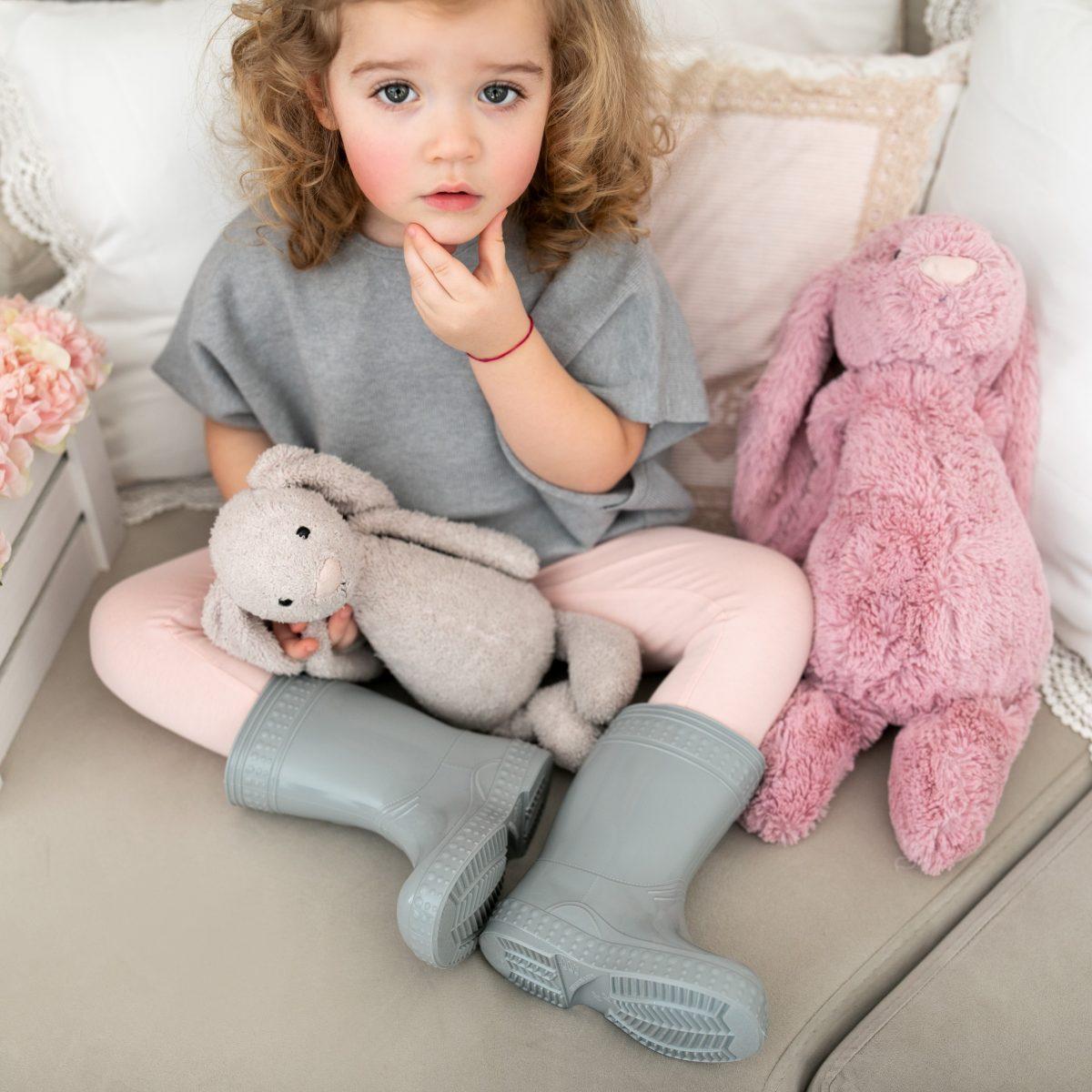 #Kaloszepoprosze dziecięce kalosze PasteLove Lisek - Szary