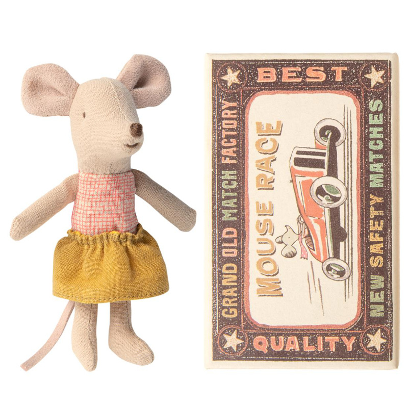 MAILEG myszka młodsza siostra w pudełku little sister mouse in matchbox