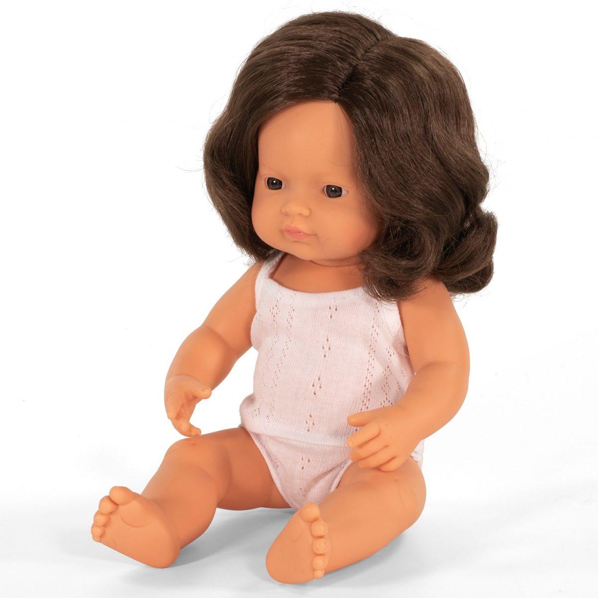 MINILAND lalka dziewczynka Europejka BRĄZOWE włosy 38 cm