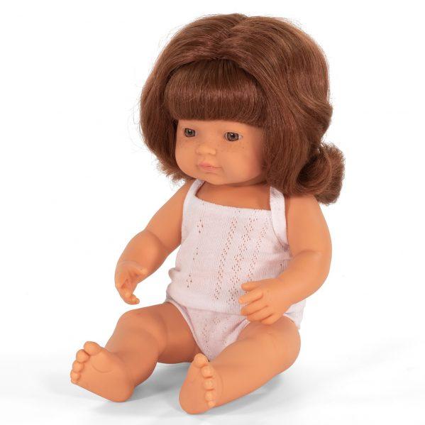 MINILAND lalka dziewczynka Europejka RUDE włosy 38cm