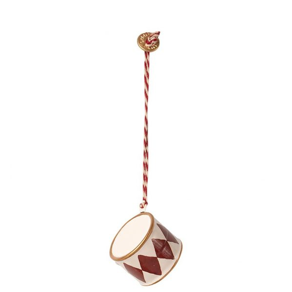 MAILEG ozdoba choinkowa Bębenek - Metal ornament, Small drum - Red
