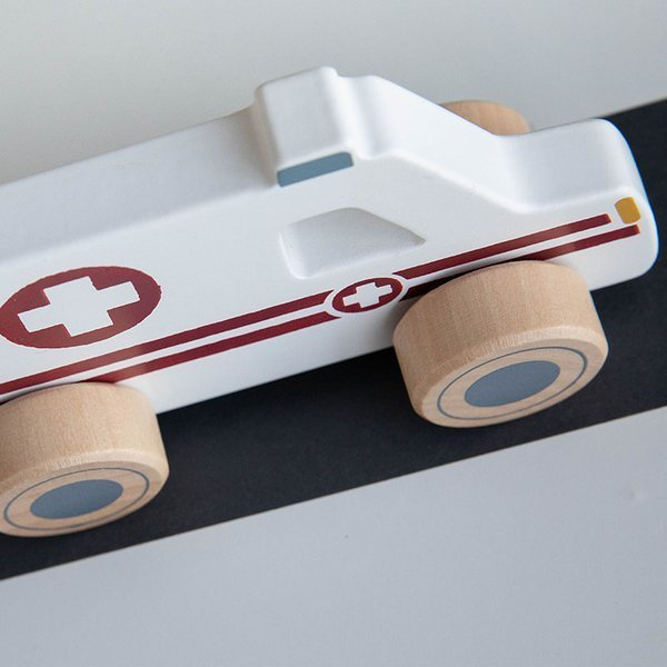 LITTLE DUTCH drewniany zestaw aut Karetka Policja Wóz strażacki