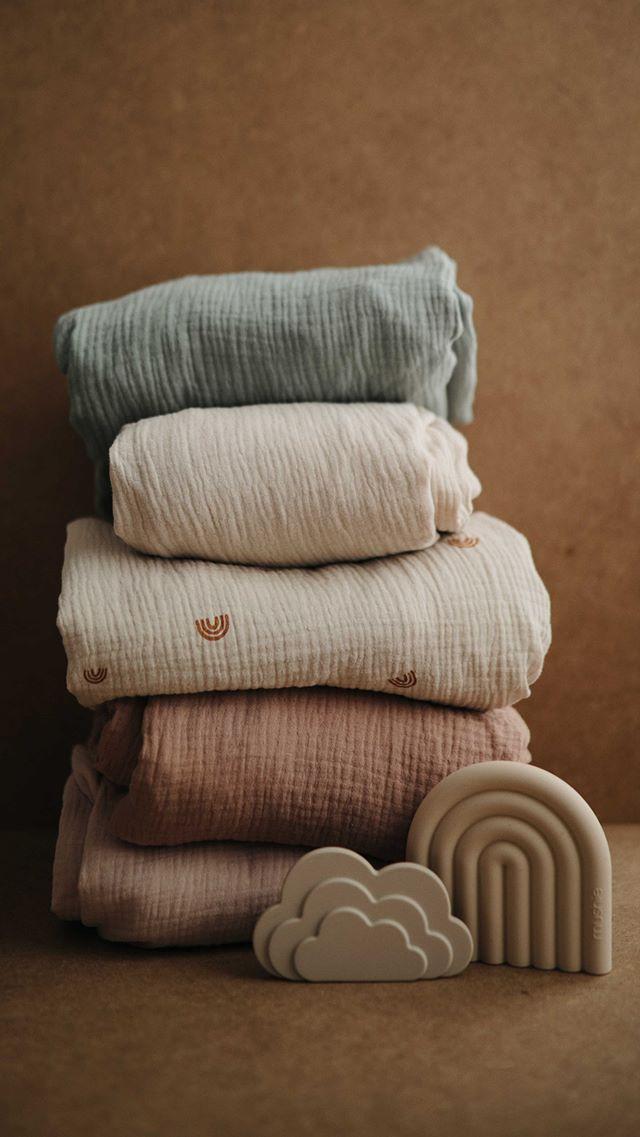 Mushie - otulacz kocyk letni 100% organic cotton Roman Green