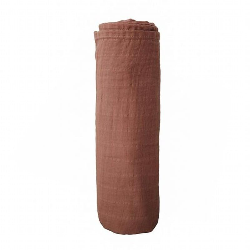 Mushie - otulacz kocyk letni 100% organic cotton Cognac