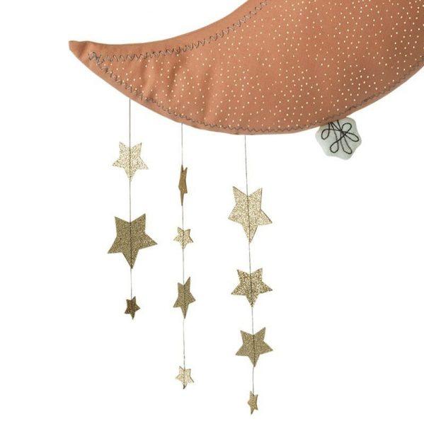 Picca LouLou - Dekoracja ścienna Sparkle Moon PINK with Stars 45 cm
