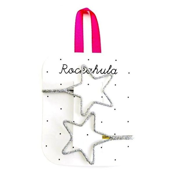 Rockahula Kids - wsuwki do włosów Starry Cut out Glitter Silver