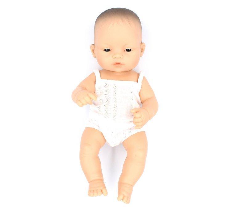 MINILAND lalka dziewczynka Azjatka 32cm + Ubranko Miniland Baby
