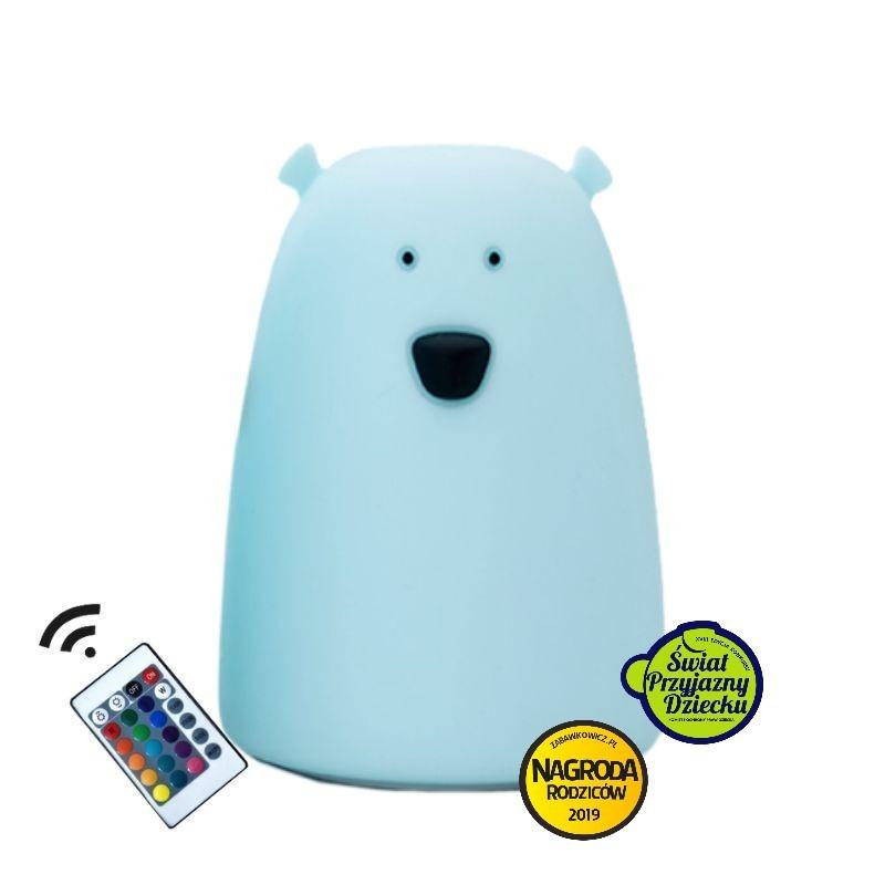 Rabbit&Friends Silikonowa lampka LED z pilotem niebieska