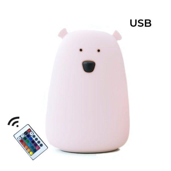 Rabbit&Friends Silikonowa lampka LED z pilotem różowa