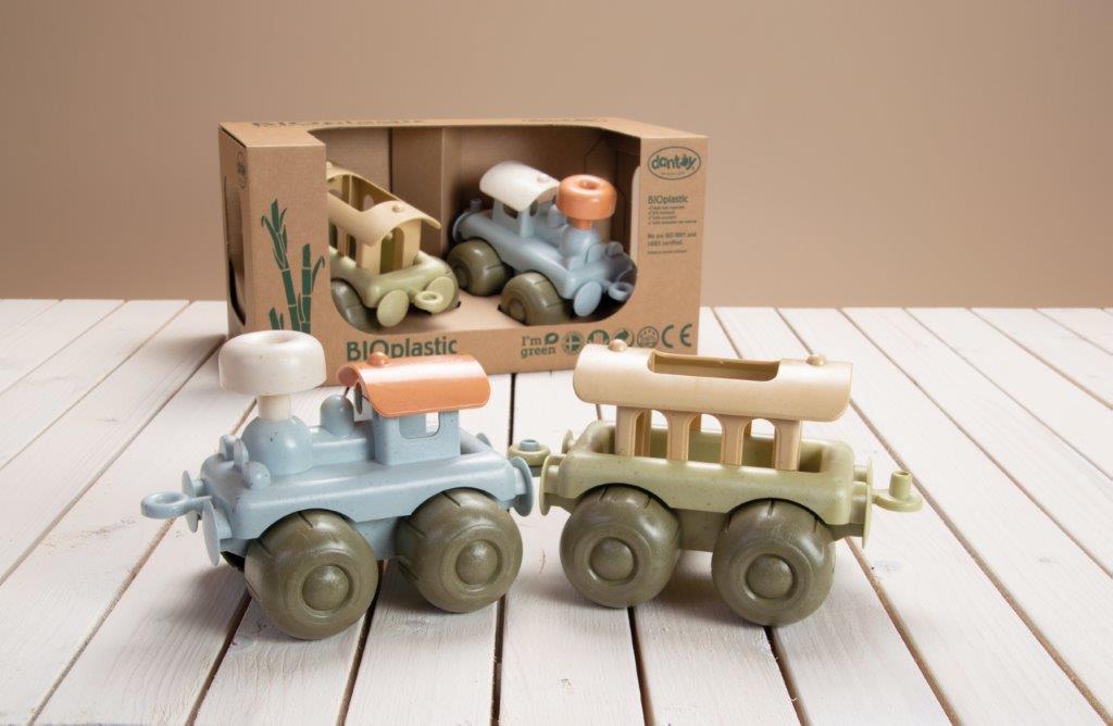 Zabawka BIOplastic zestaw lokomotywa z wagonem 2 szt Dantoy