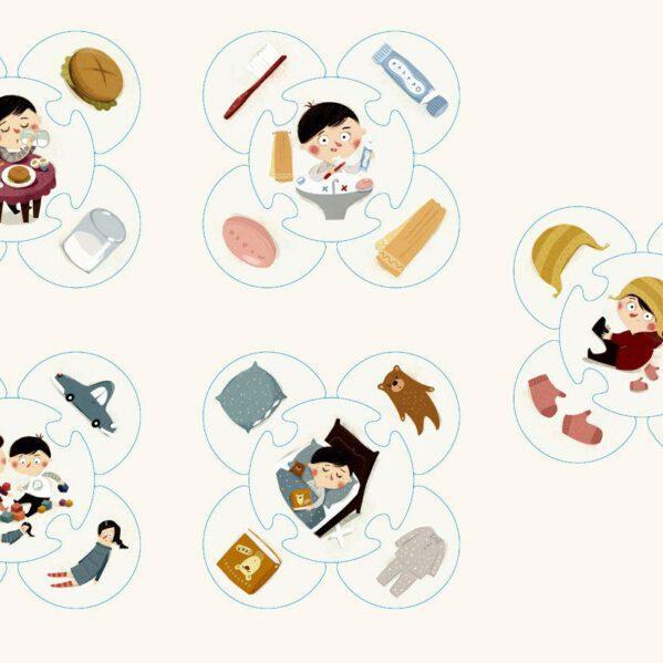 Puzzle przeznaczone dla dzieci od 2 lat. Składają się z 5 obrazków głównych oraz 20 uzupełniających. Na obrazkach głównych jest Pucio w znanych dziecku codziennych sytuacjach (np. jedzenie posiłku, poranna toaleta, ubieranie się). Elementy uzupełniające przedstawiają pojedyncze obiekty zaprezentowane także na obrazku głównym (np. kanapka, szczoteczka do zębów, czapka). Dziecko ma się przyjrzeć obrazkowi głównemu, odnaleźć pasujące do niego elementy uzupełniające i dołączyć je do obrazka głównego.