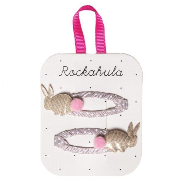 ROCKAHULA Kids spinki do włosów Rabbit Gold Dwa najsłodsze małe króliczki z uroczymi ogonkami. Każdy króliczek jest przymocowany do klipsa owiniętego wrzosową wstążką rypsową w białe kropeczki. Spinki dla małych dziewczynek na każdą okazję.